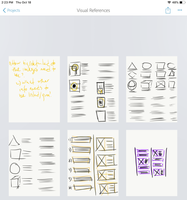 Visual Reference List Sketches